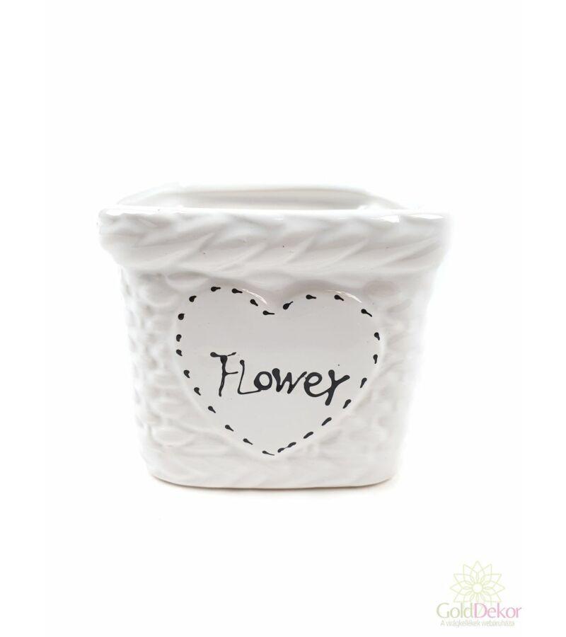 Kosár mintás FLOWER kocka kaspó