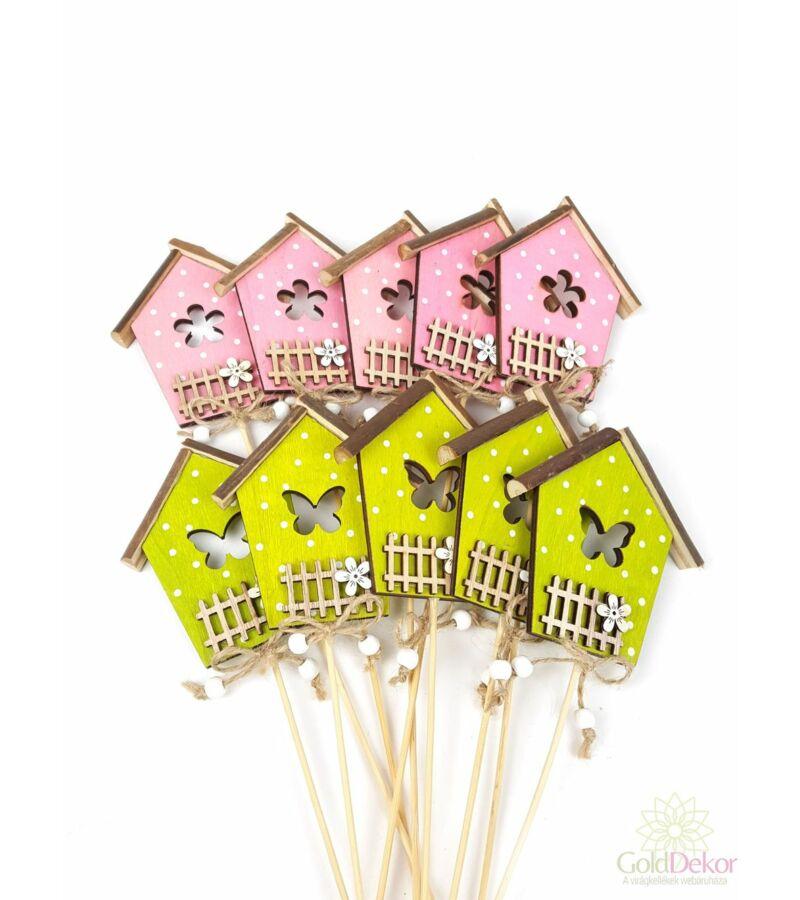 Pöttyös házikó betűző*10 - Rózsaszín - Zöld