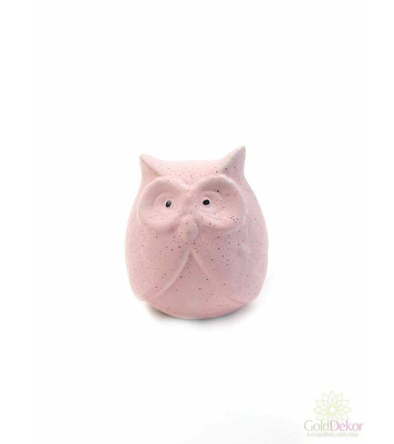 Színes kerámia bagoly - Rózsaszín