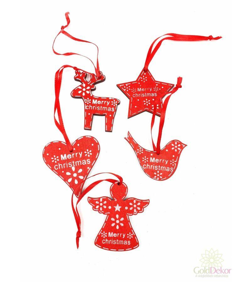 Merry Christmas fafüggő mix - Piros