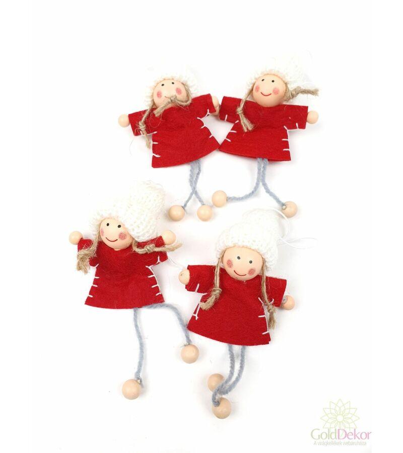 Filc ruhás fehér sapkás lányok*4 - Piros
