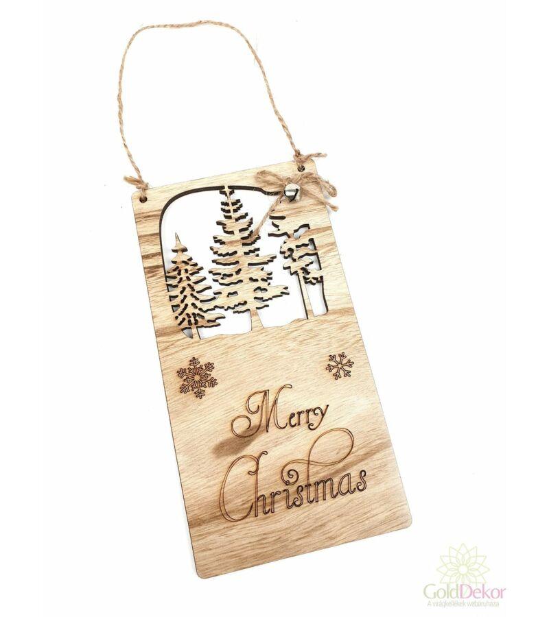 Merry Christmas kopogtató - Fenyő