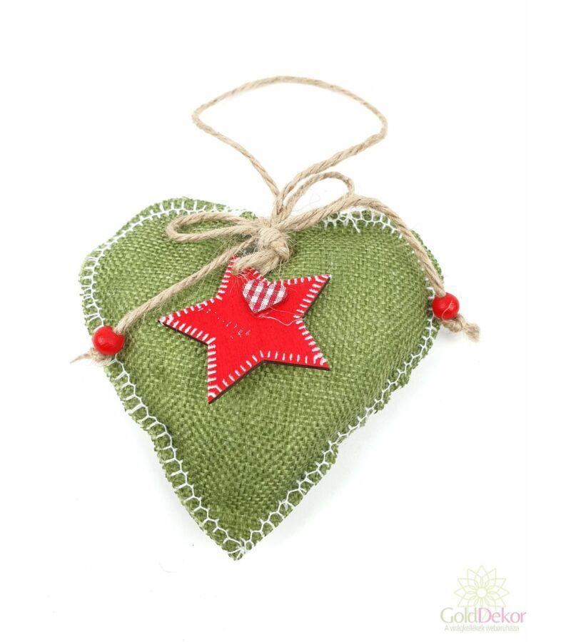 Varrott szélű zöld zsák szív