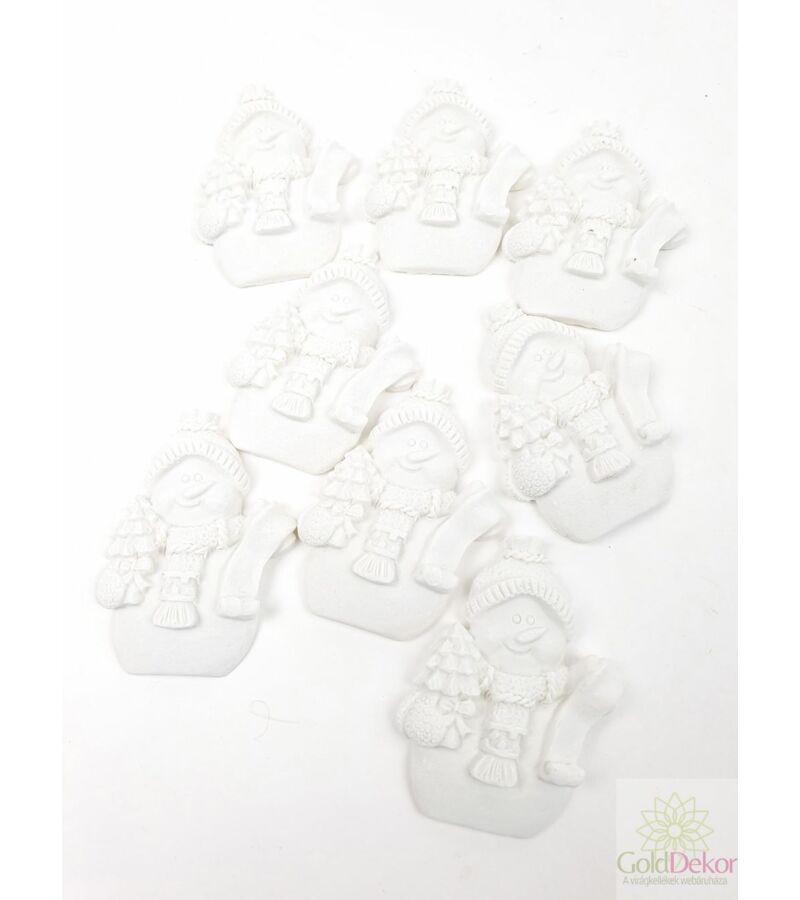 Polyresin karácsonyi figurák - Hóember fenyővel