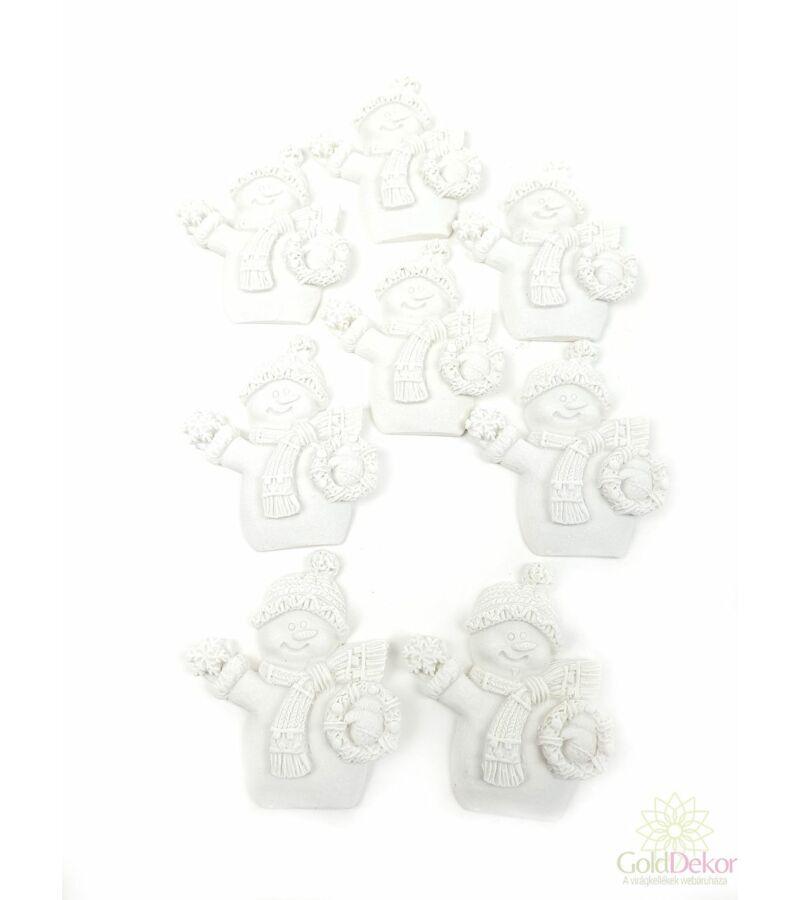 Polyresin karácsonyi figurák - Hóember koszorúval