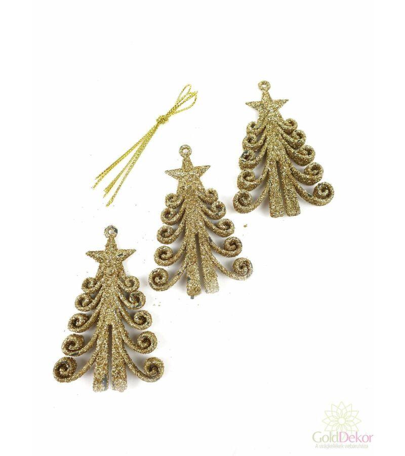 Csillámos műanyag karácsonyfa*3 - Arany