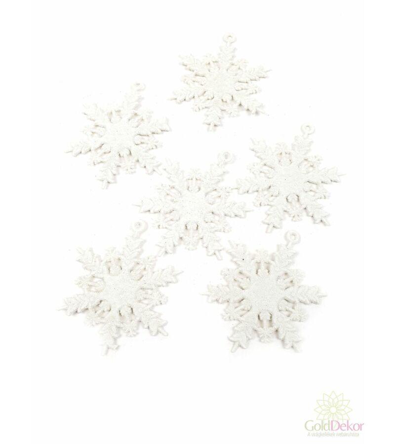Műanyag csillámos hópihe 6 cm*6