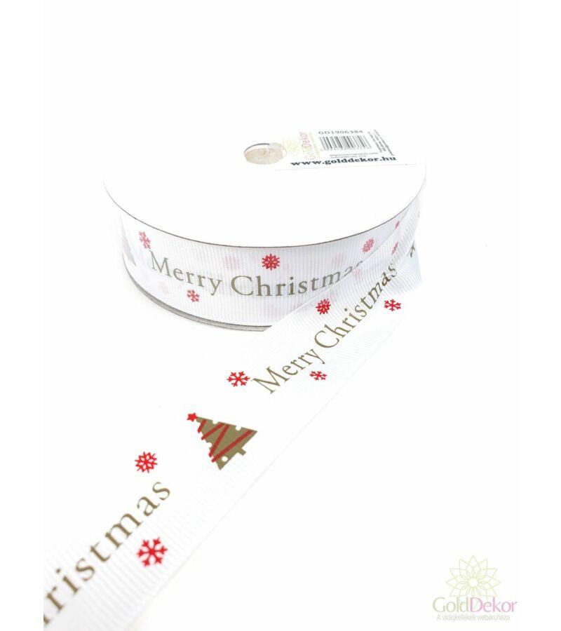 Karácsonyi szalag 2,5 cm - Merry Christmas fehér
