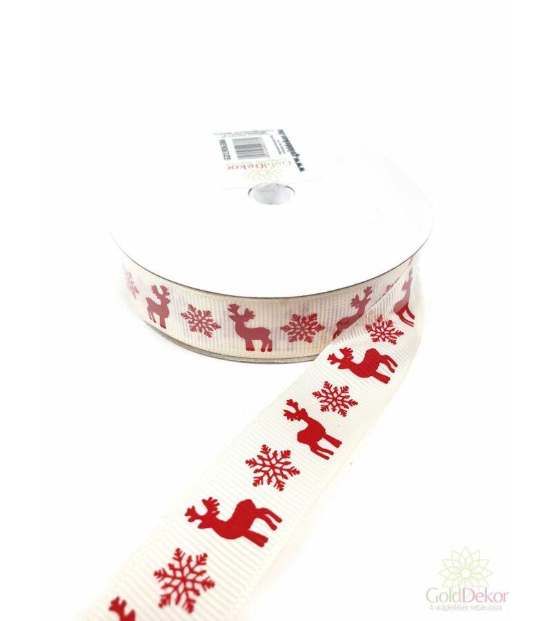 Szarvas mintás karácsonyi szalag 2 cm - Piros-Krém