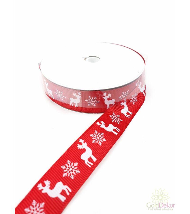 Szarvas mintás karácsonyi szalag 2 cm - Fehér-Piros