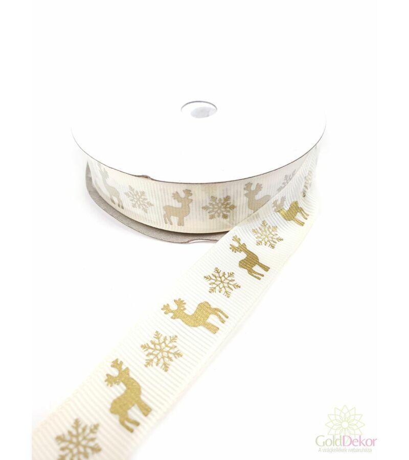 Szarvas mintás karácsonyi szalag 2 cm - Arany-Krém