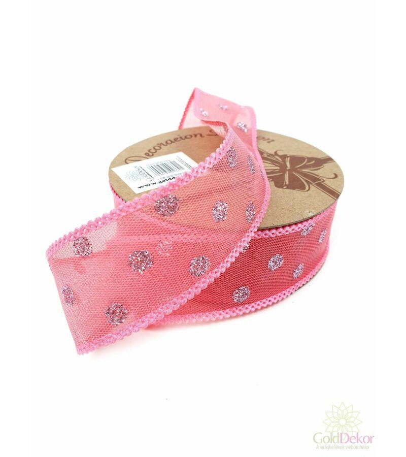 Csillám pöttyös hálós szalag - Pink