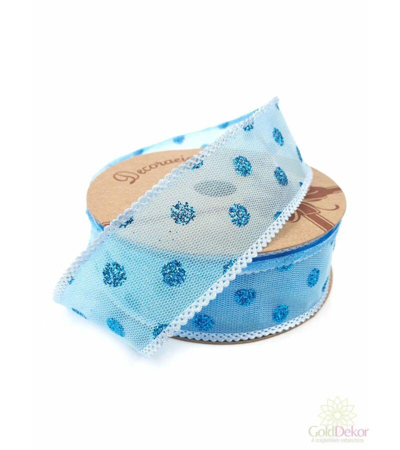 Csillám pöttyös hálós szalag - Kék