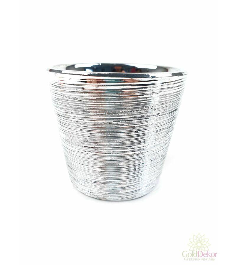 Mart mintás metál mini kaspó kerek - Ezüst