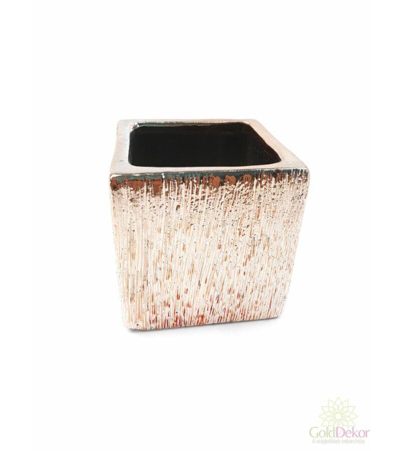 Mart mintás metál mini kaspó kocka - Rosegold