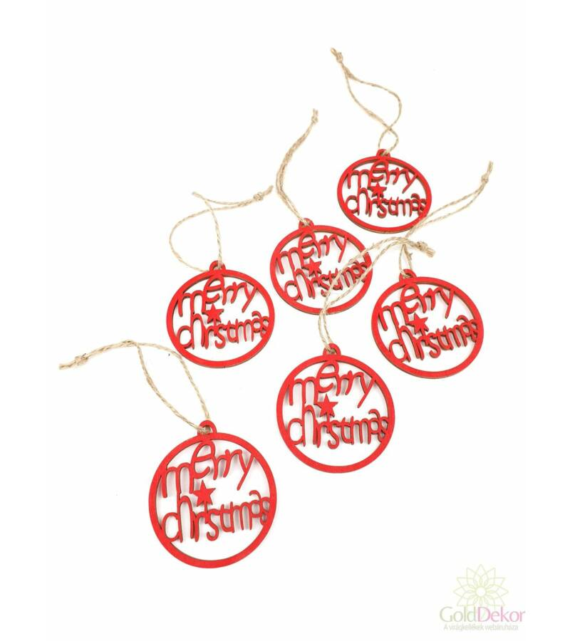 Akasztós fa merry christmas gömb - Piros
