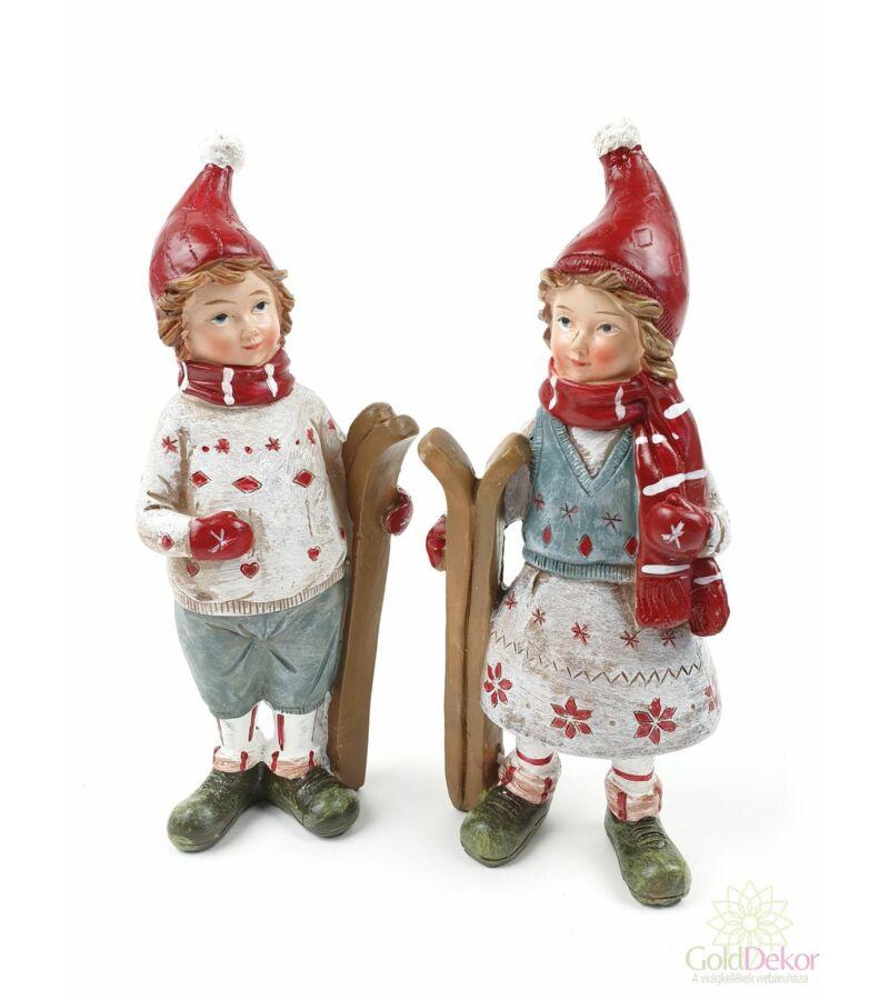Karácsonyi gyermek figura - Síléces