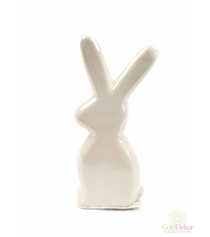 Gyöngyházas nyuszi figura*12 cm - Tört fehér