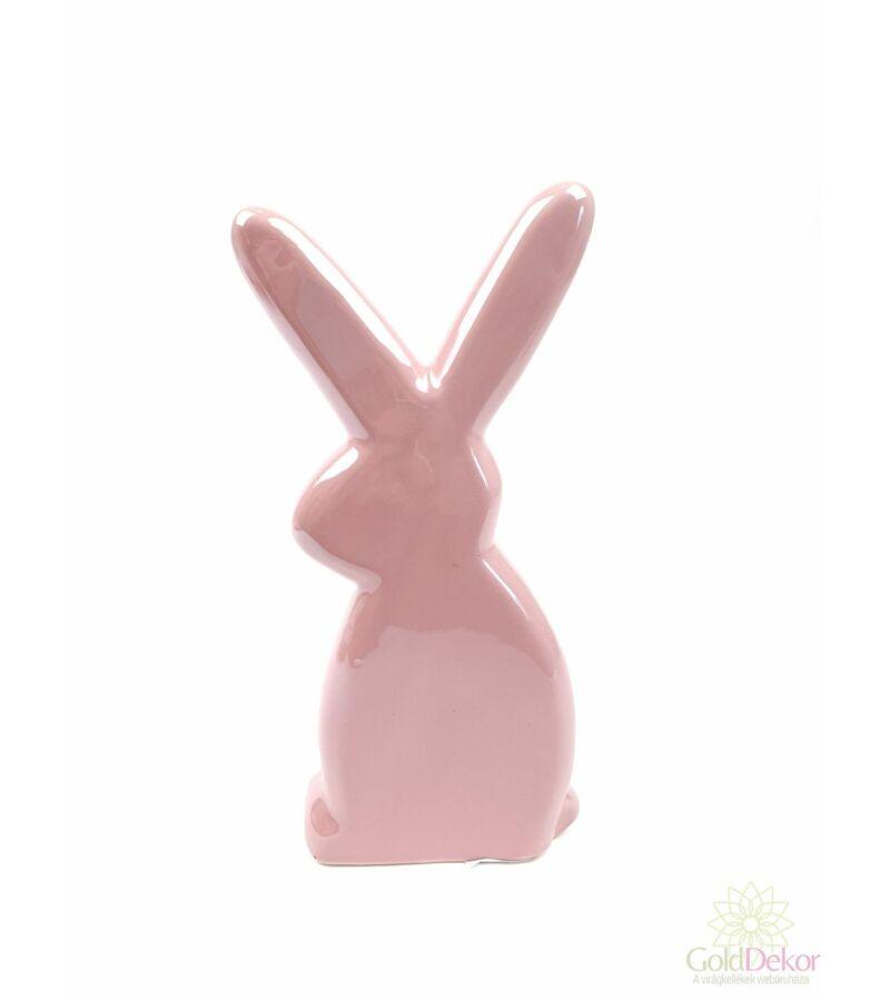 Gyöngyházas nyuszi figura*21 cm - Fáradt rózsaszín