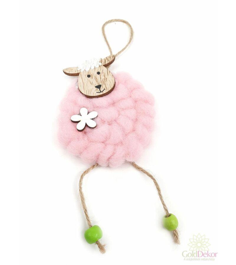 Gyapjú bundás akasztós bárány - Rózsaszín