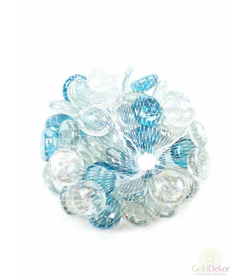 Dekor üveg kavics - Színtelen kék mix