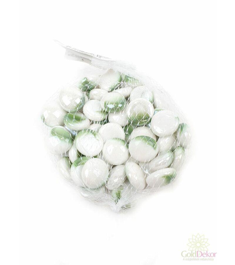Dekor üveg kavics - Gyöngyház világos zöld-fehér