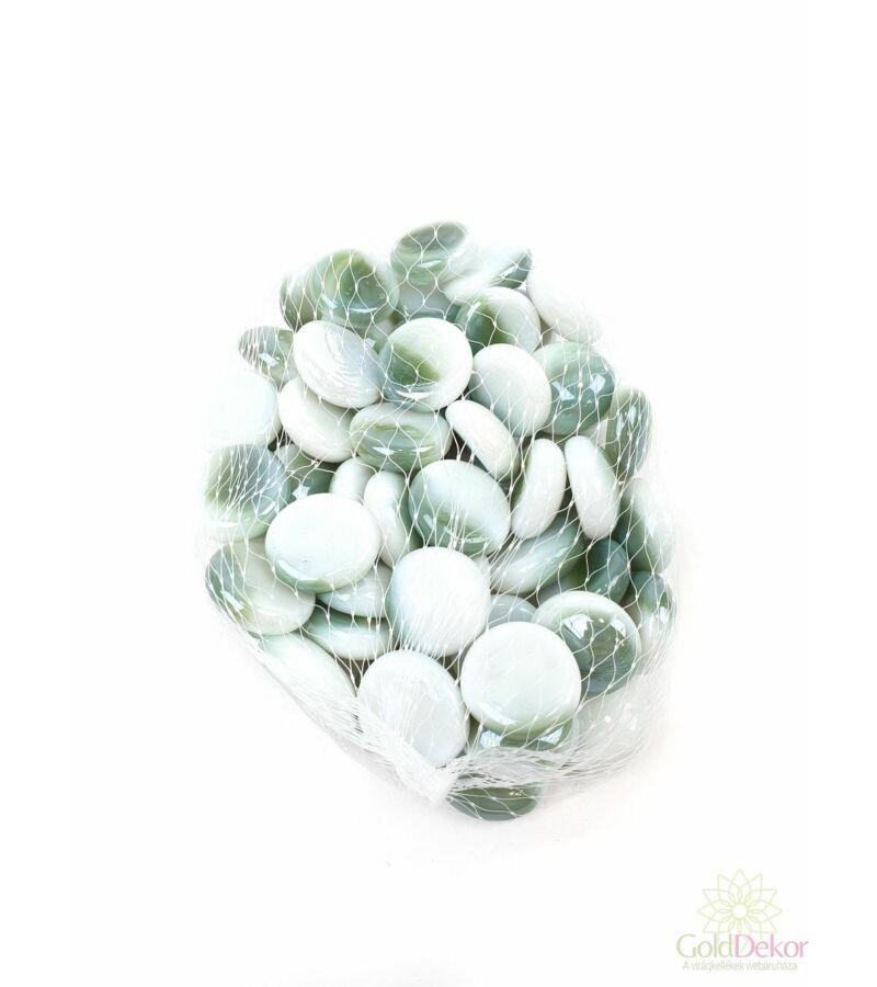 Dekor üveg kavics - Gyöngyház sötét zöld-fehér