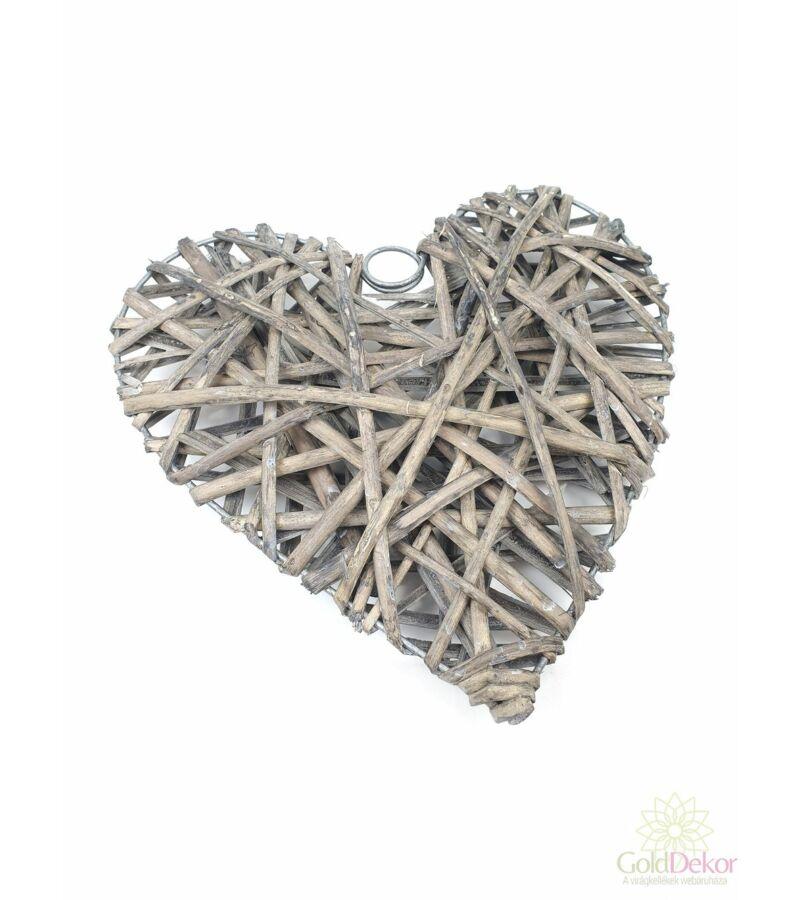 Rattan szív alap 25 cm - Szürke
