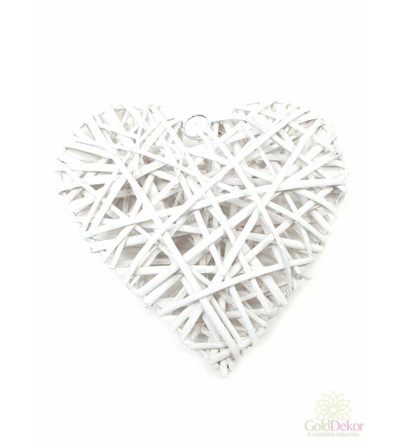 Rattan szív alap 25 cm - Fehér