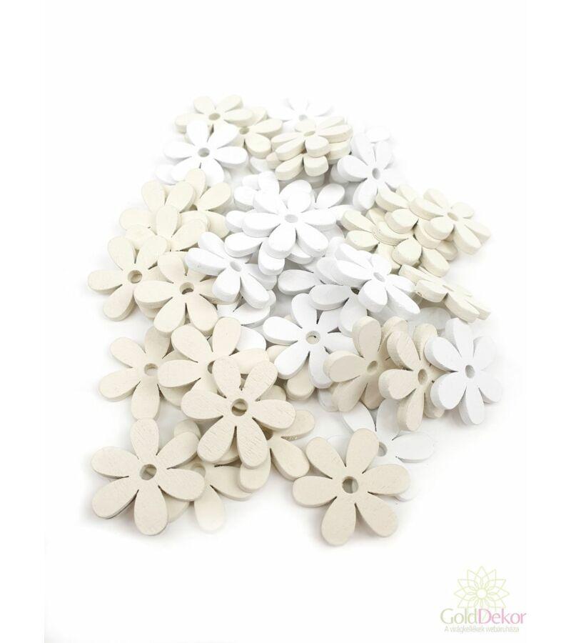 Fa dekor fehér - krém - Hatszirmú