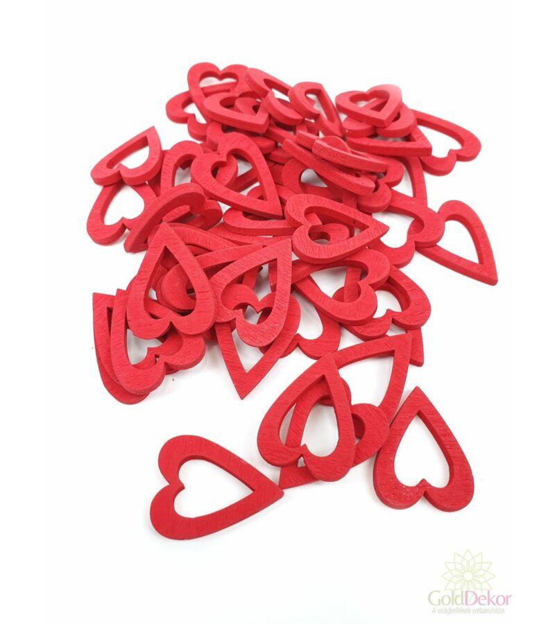 Fa dekor lyukas szív kicsi - Piros