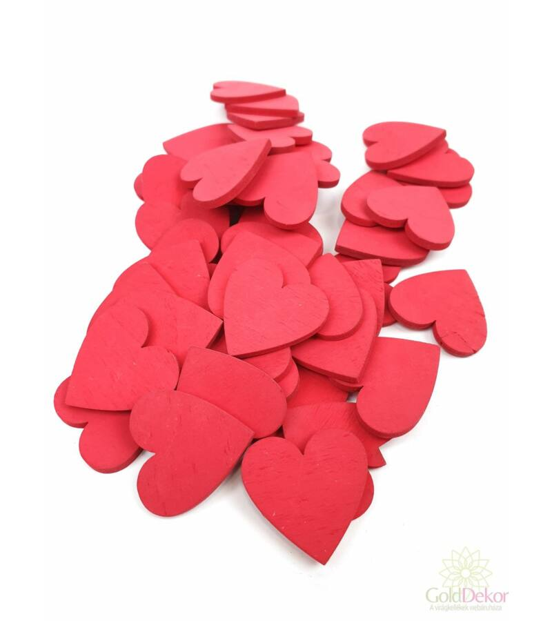 Fa dekor teli szív*45- Piros