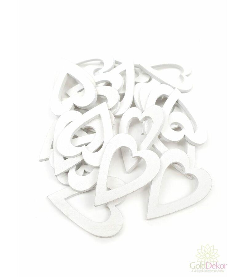 Fa dekor lyukas szív nagy - Fehér