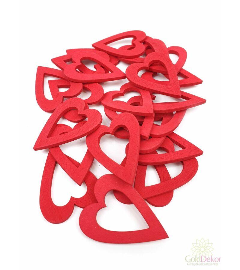 Fa dekor lyukas szív nagy - Piros