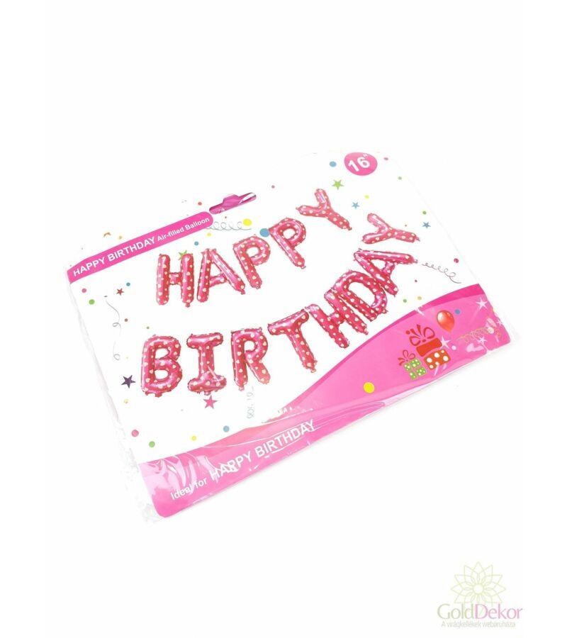 Happy Birthday lufi felirat - Pink