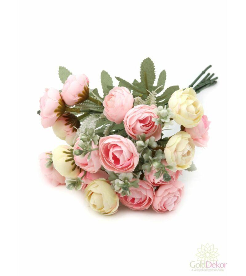 Hamvaslevelű dekor boglárka csokor - Rózsaszín-krém