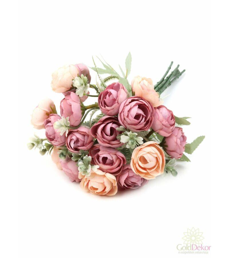 Hamvaslevelű dekor boglárka csokor - Rózsaszín