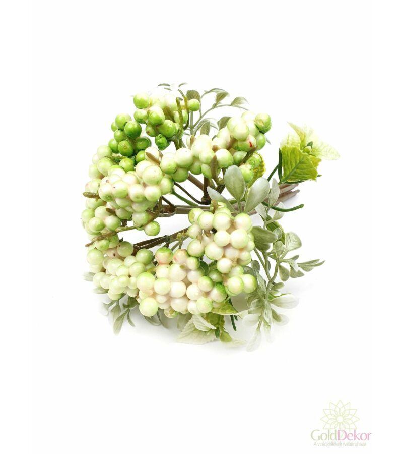 Bogyós dekor csokor - Fehér-zöld