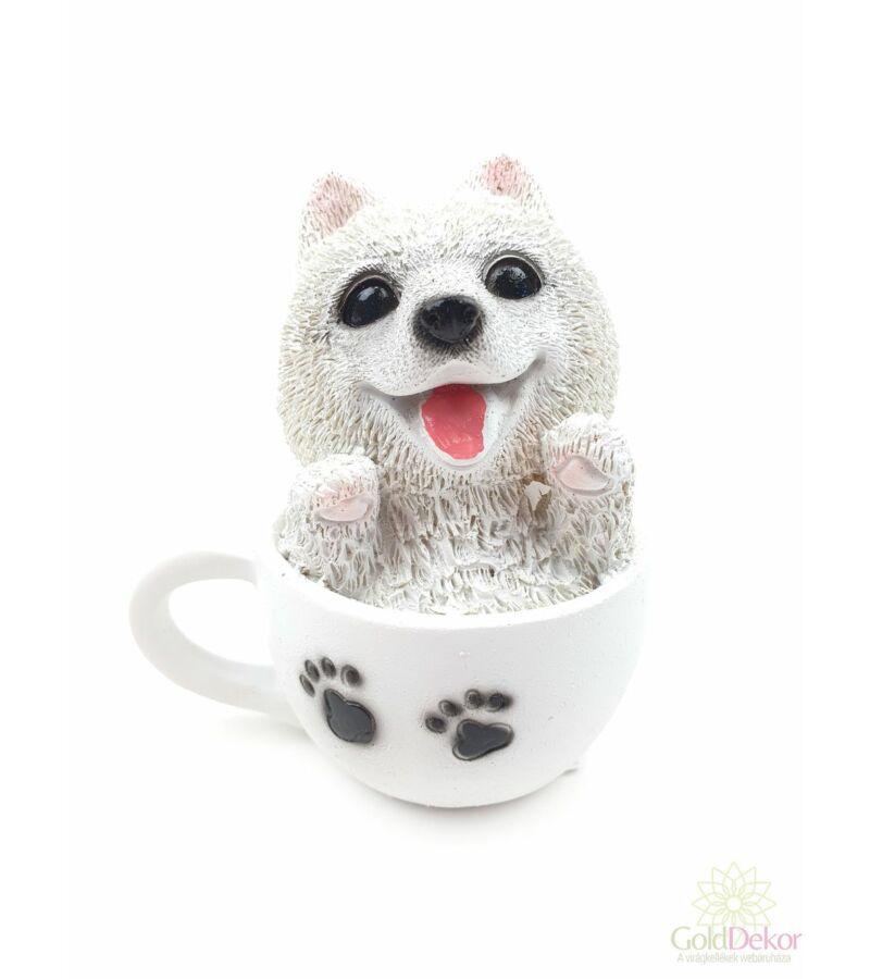 Kutya csészében figura - Fehér kutyus