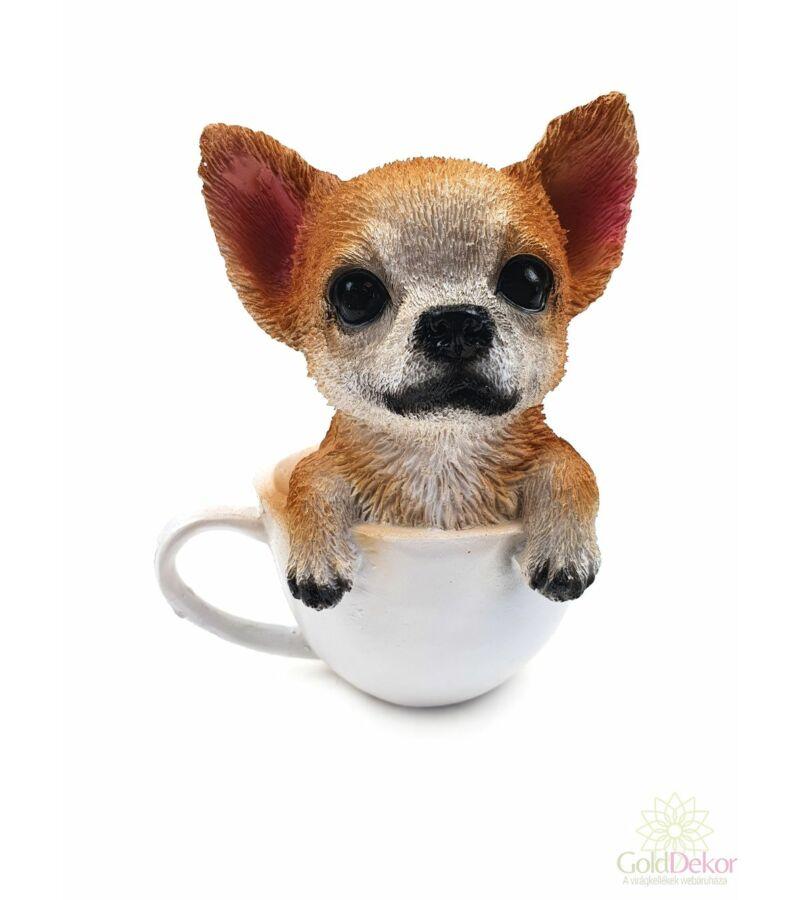 Kutyus figura csészében 10 cm - Csivava