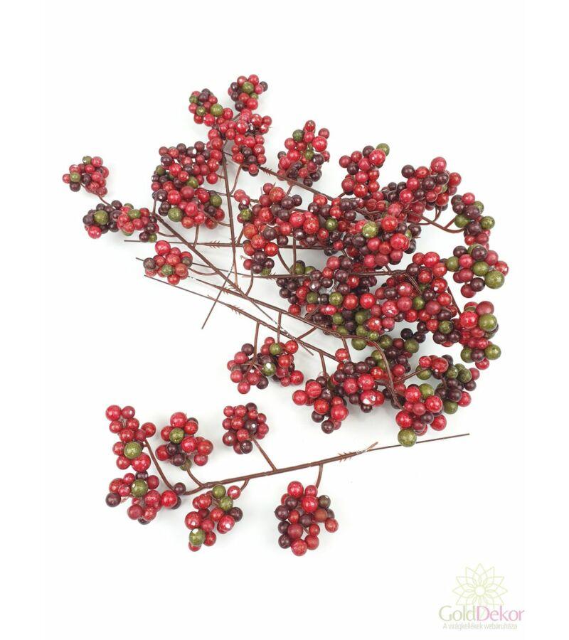 6 ágas őszi fürt bogyó*9 - Bordó-zöld