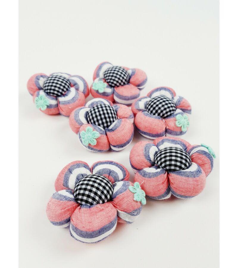 Textil virág nagy csíkos - Korall
