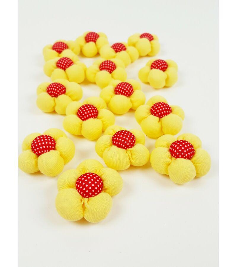 Textil virág kicsi  - Sárga