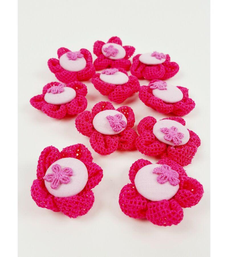 Textil virág kötött - Pink
