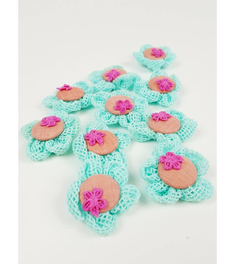 Textil virág kötött - Menta