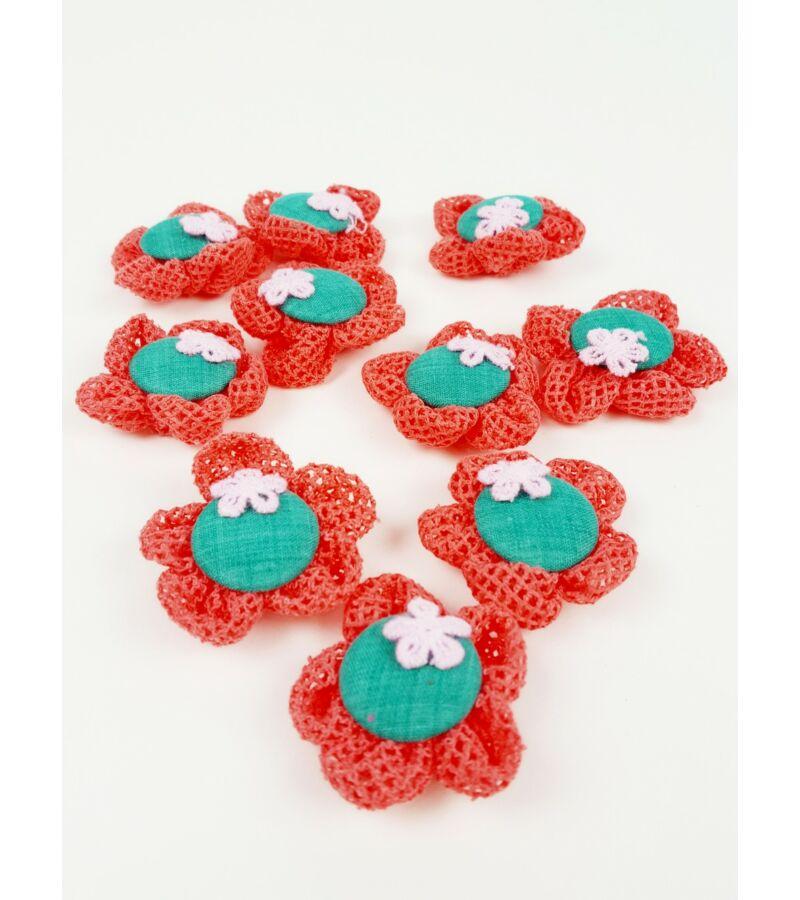 Textil virág kötött - Korall