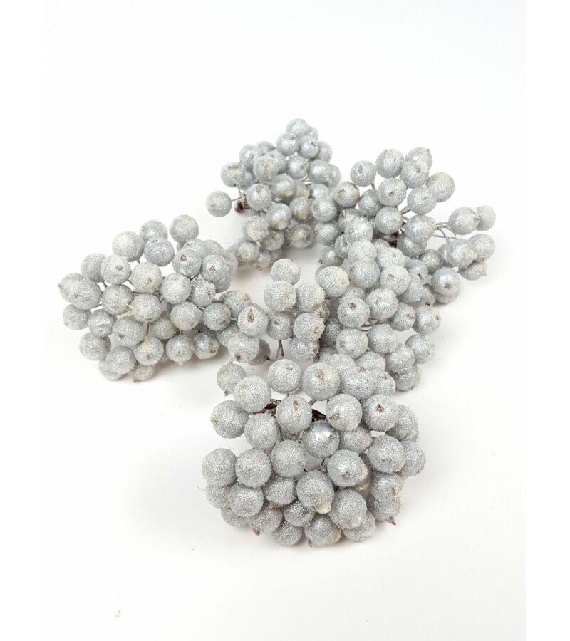 Csillámos drótos bogyó - Ezüst