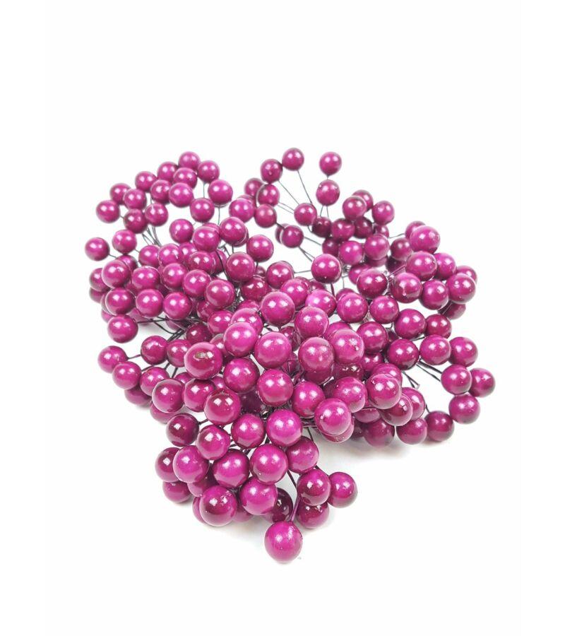 Drótos bogyó 1 cm - Sötét Pink