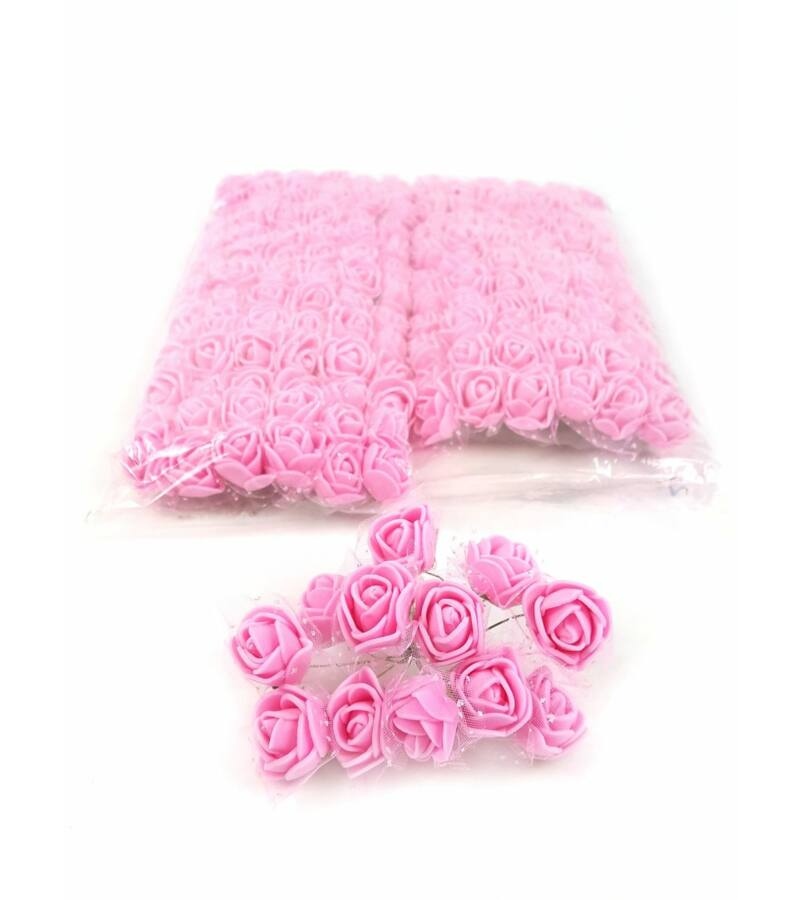 Csomagos mini polyfoam rózsa tülös - Élénk Rózsaszín