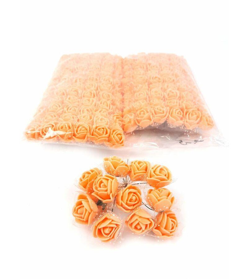 Csomagos mini polyfoam rózsa tülös - Sötét Barack